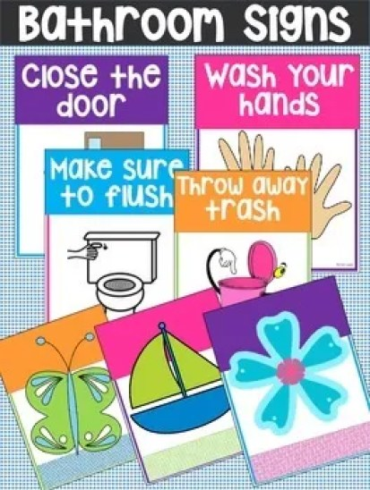 Printable bathroom rules reminder signs do your kids - Bathroom procedures for preschool ...
