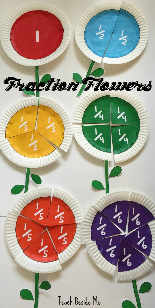 Fraction flowers for teaching kids fraction equivalents.