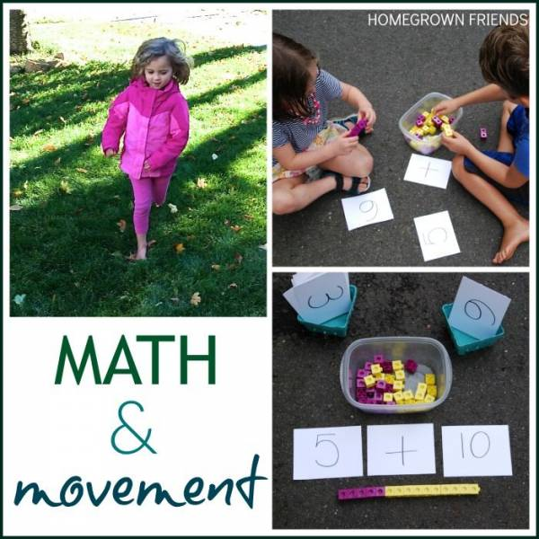Incoporating movement to help kids learn about math.