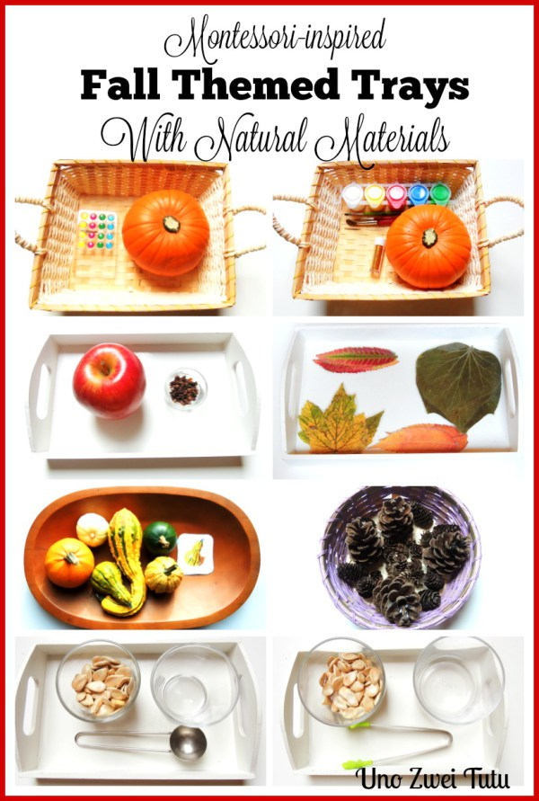 Fall themed, Montessori-inspired tot trays using natural materials.