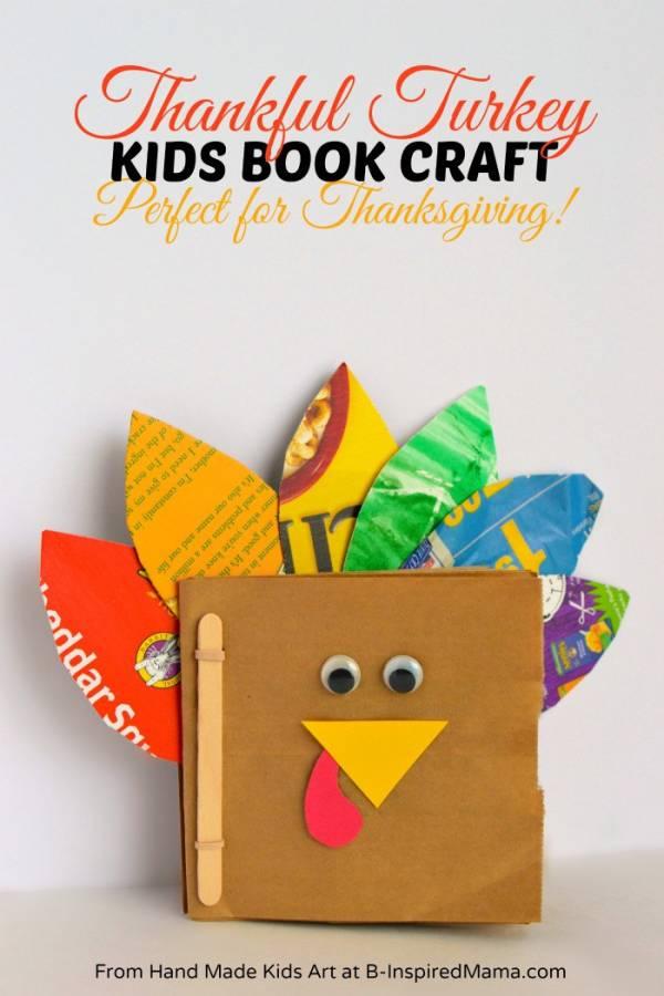 thankful turkey handmade book for kids