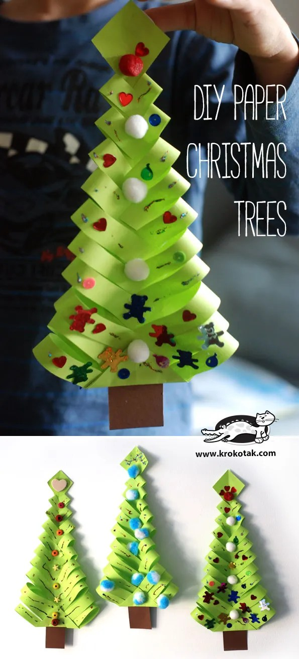 Paper Christmas trees are great for cutting, fine motor skills.