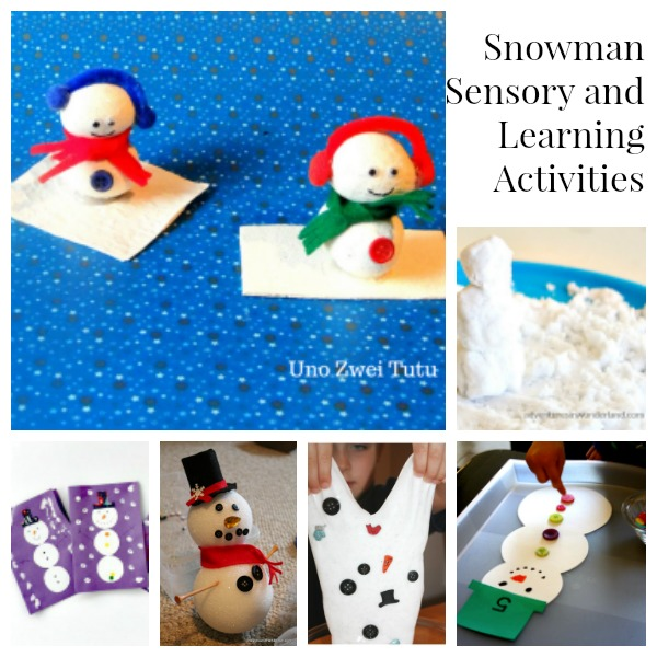 Snowman learning activities and sensory play.