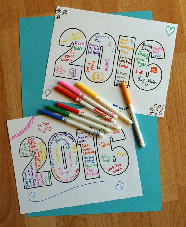 New Year's goals printable for kids