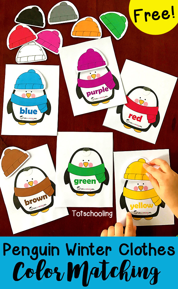 Penguin color matching winter clothing activity.
