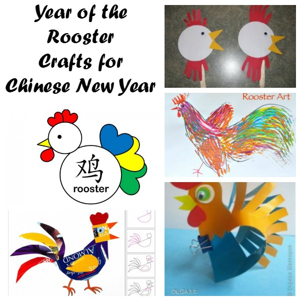 Rooster crafts for Chinese New Year.