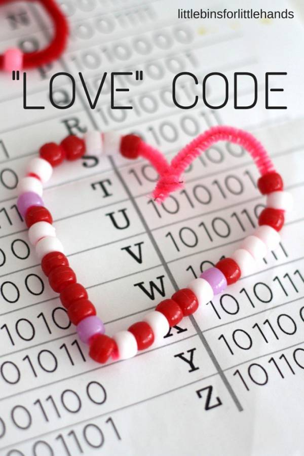 Write a Valentine's code in binary using pony beads and pipe cleaners.