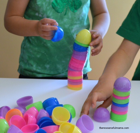 Stack plastic eggs for a no-prep STEM challenge.