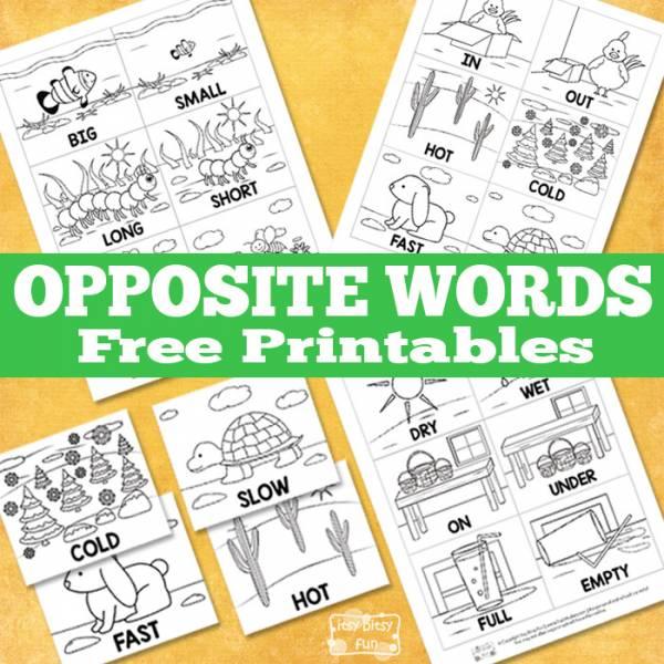 opposite words printables