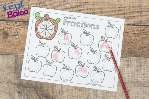 apple fraction worksheet printable