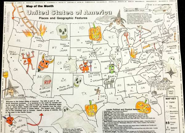 spooky map halloween geography