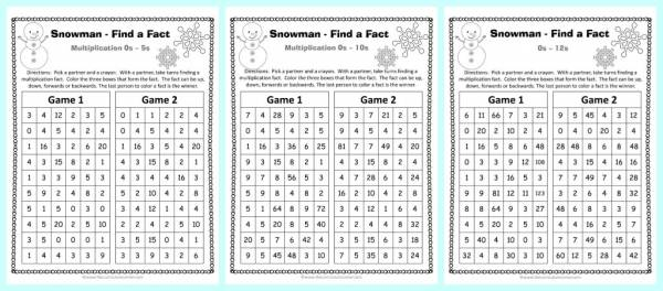 winter multiplication find a fact game