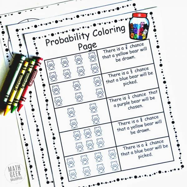 Probability Coloring Sheets Introduce Math Concepts