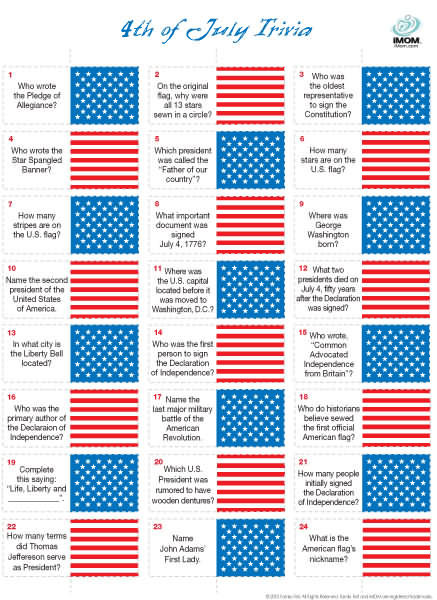 Fourth of July trivia game