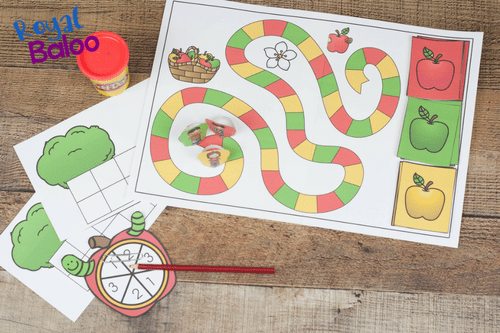 apple addition math game printable