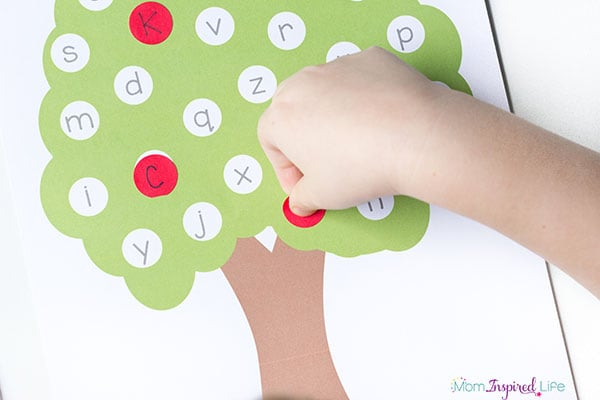 apple letter matching activity