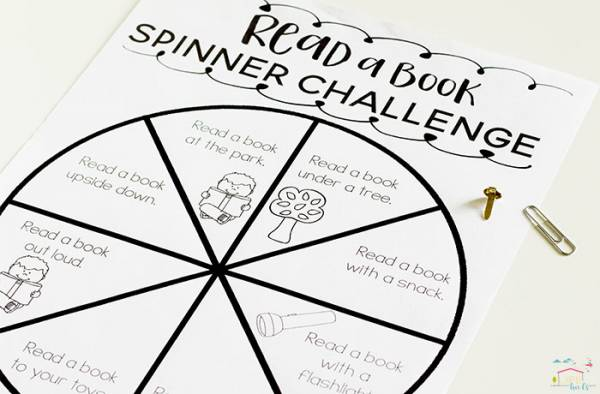 reading spinner challenge printable