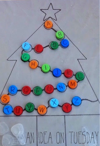 bottle cap alphabet christmas tree