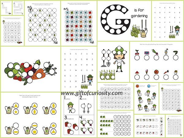 gardening do a dot printables