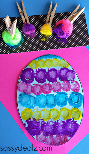 pompom easter egg painting