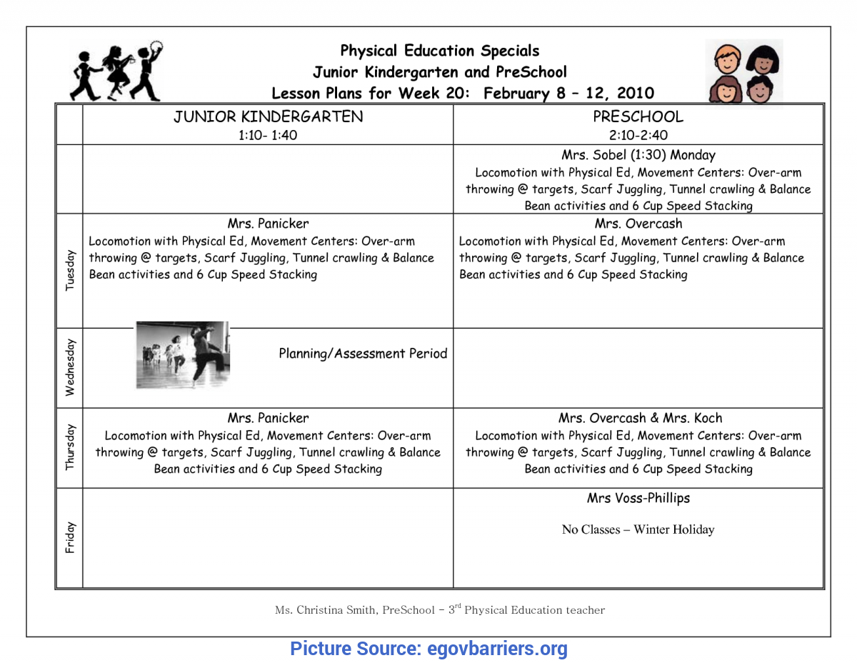 Kindergarten Physical Education Lesson Plans