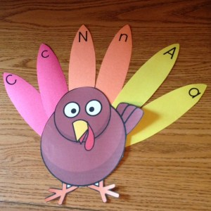 Thanksgiving turkey uppercase lowercase letters