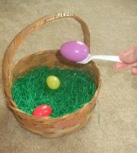 Easter basket egg and spoon race