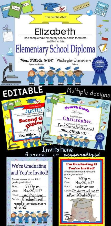 elementary school diplomas & graduation invitations