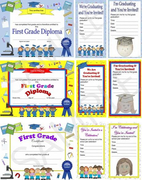 first grade diploma, certificate, graduation invitation