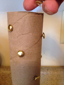 How to make a rain stick with a paper towel roll & brass fasteners