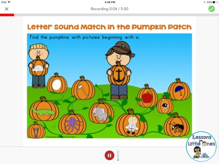 beginning sounds practice using Seesaw app