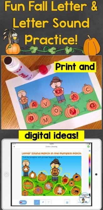 Fun Fall Letter & Letter Sound Practice Print & Digital Ideas
