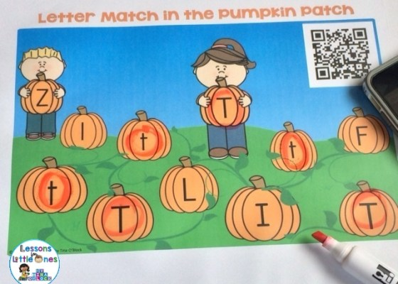 pumpkin patch letter match with QR code