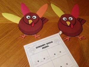 Thanksgiving turkey addition subtraction
