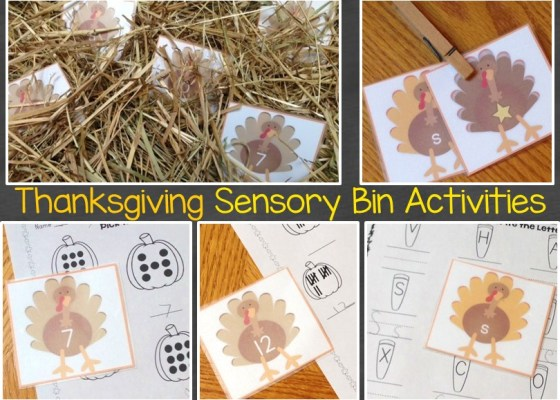 Thanksgiving sensory bin activities