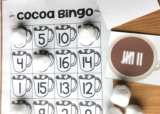 winter bingo game number sense