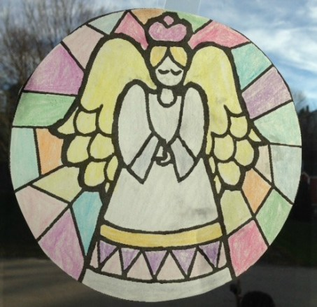 stained glass window coloring page