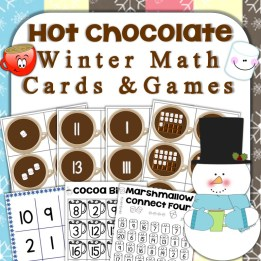 Hot Chocolate Winter Math Cards & Games Number Sense