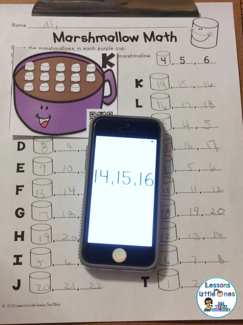 QR code self-checking winter number sense task cards
