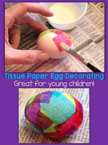 decorating eggs with tissue paper