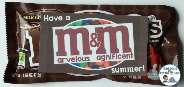 End of the school year student gifts and gift tags - M&Ms