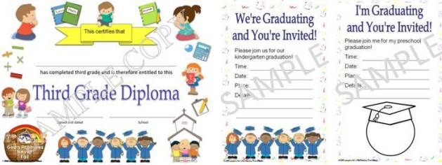 editable Christian, religious diplomas & graduation invitations