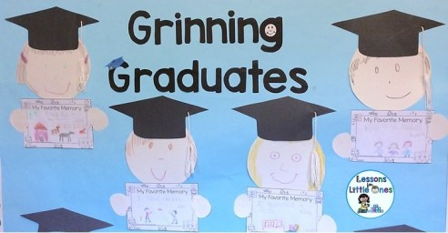 end of the year bulletin board Grinning Graduates