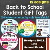 Back to School, Open House, Meet the Teacher Student Gift Tags