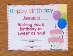 birthday certificate printable