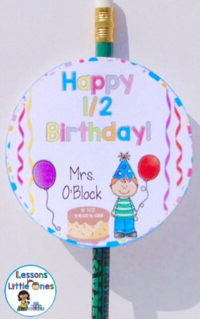student half birthday gift tag editable