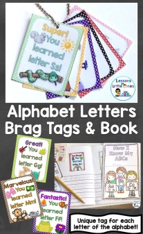 Alphabet Letters Brag Tags and Book