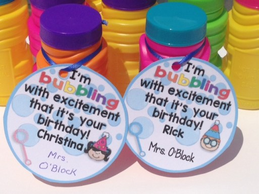 student birthday bubbles gift tag