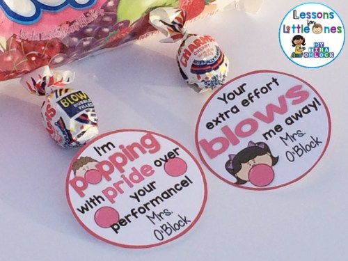 Blow Pop Student Gift Tags - I'm Popping With Pride Over Your Performance! and Your Extra Effort Blows Me Away!