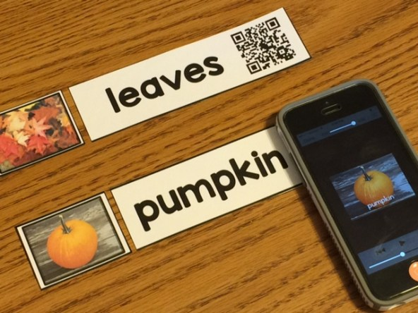 fall word wall card with picture and QR code